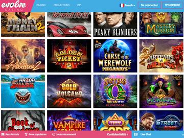 aperçu de jeux Evolve Casino